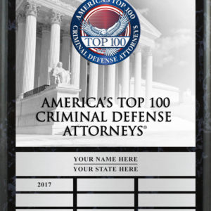 Commemorative Plaque for America's Top 100 Criminal Defense Attorneys®